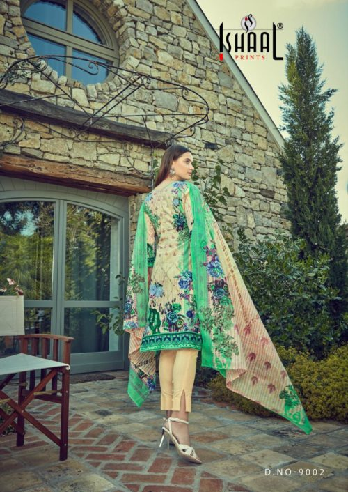 Ishaal Prints Presents Gulmohar Vol 9 Pure Lawn Salwar Suits 9002