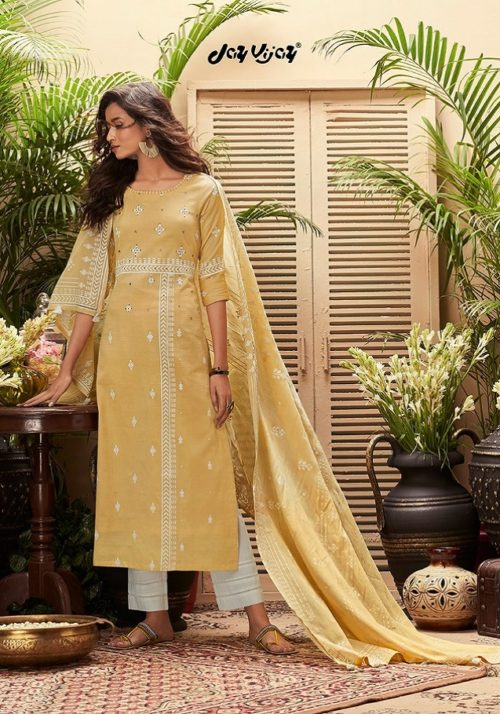 JayVijay Presents Intrigue 6 Pure Cotton Dobby and Block Print With Handwork Salwar Suit 4822