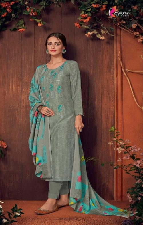 Kesari Trendz Presents Muslin 2 Salwar Suit Maslin Silk Self Embroidered Work 1207