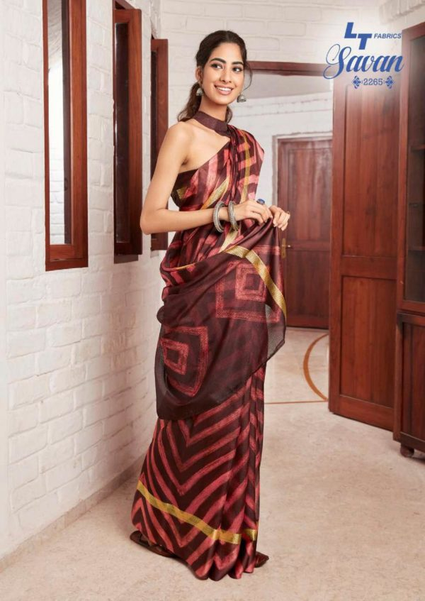 LT Fabrics Presents Savan Kota Checks Designer Printed Saree 2265