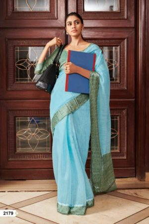 Lt Fabrics Presents Vama Soft Linen with Printed Border Saree 2179