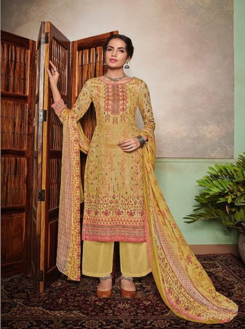 Mumtaz Arts Presents Nazakat E Aari Pure Jam Satin Digital Printed Salwar Kameez 1002