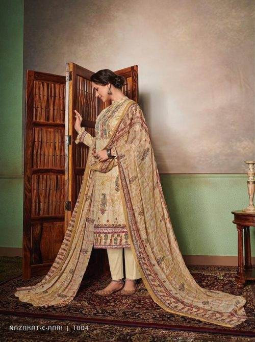 Mumtaz Arts Presents Nazakat E Aari Pure Jam Satin Digital Printed Salwar Kameez 1004
