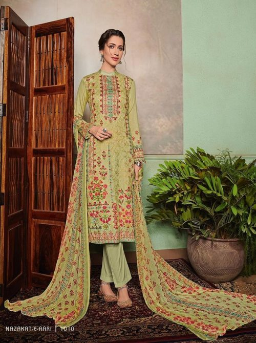 Mumtaz Arts Presents Nazakat E Aari Pure Jam Satin Digital Printed Salwar Kameez 1010