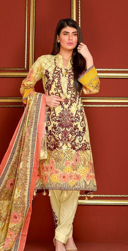 Mysoori Presents Khaddi Embroidered Lawn 5 Pure Pakistani Cotton Lawn With Embroidery Suit 01b
