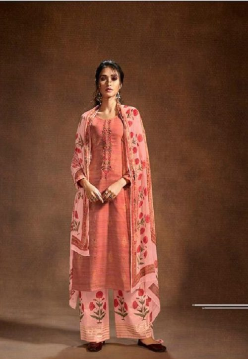 Omtex Mira Hand loom Khadi With Foil Print and Hand Embroidery Salwar Suit 778