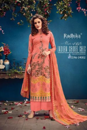 Radhika Fashion Presents Azara Vol 34 Pure Cambric Karachi Prints Salwar Suits 34002