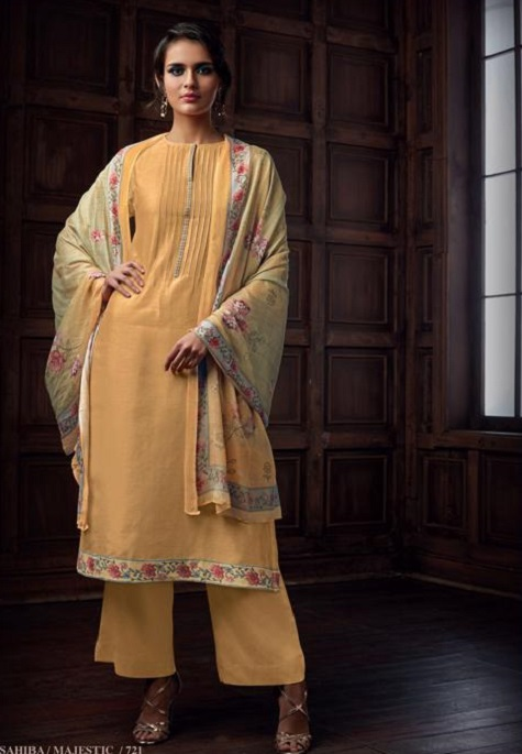 Sahiba Majestic Pure Chanderi Front Back With Pure Chanderi Embroidery Work Salwar Suit 721
