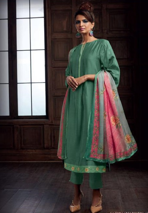 Sahiba Majestic Pure Chanderi Front Back With Pure Chanderi Embroidery Work Salwar Suit 742