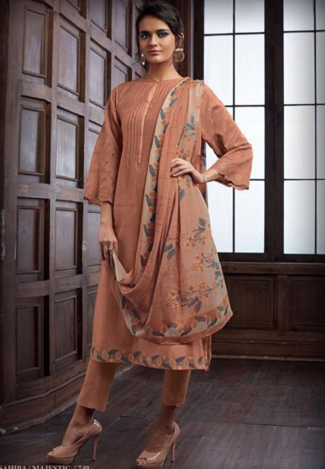 Sahiba Majestic Pure Chanderi Front Back With Pure Chanderi Embroidery Work Salwar Suit 749