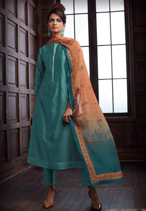 Sahiba Majestic Pure Chanderi Front Back With Pure Chanderi Embroidery Work Salwar Suit 763