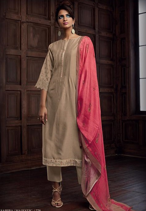 Sahiba Majestic Pure Chanderi Front Back With Pure Chanderi Embroidery Work Salwar Suit 770