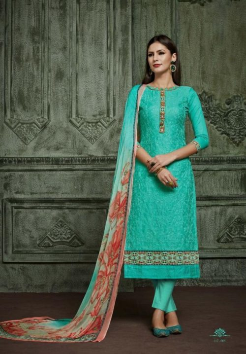 Sargam Prints Present Ocean vol 3 Jam Satin Karachi Work With Digital Print Unstitched Salwar Suit 117-005