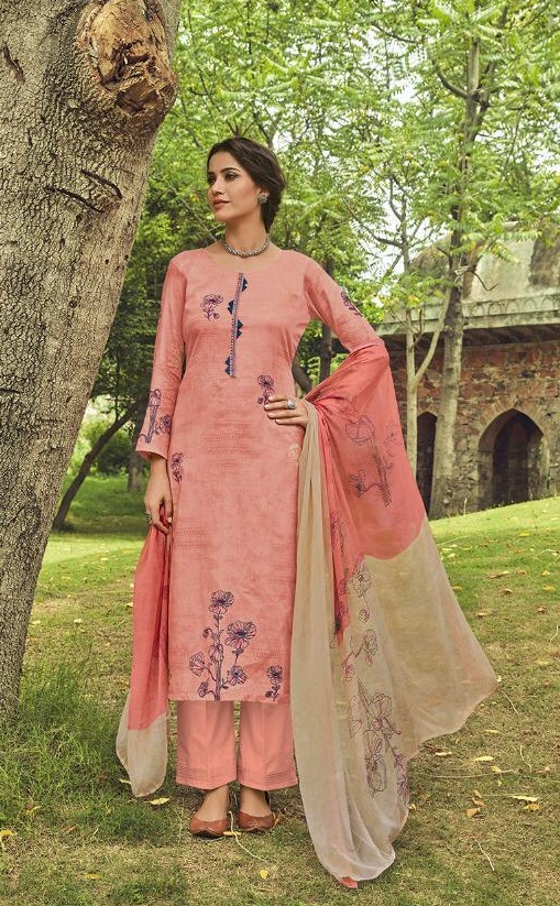 Shahnaz Arts Presents Amora Pure Glace Cotton With Embroidery Work Salwar Suit 9001