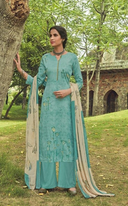 Shahnaz Arts Presents Amora Pure Glace Cotton With Embroidery Work Salwar Suit 9002