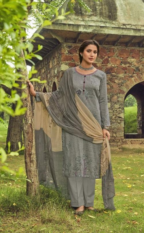 Shahnaz Arts Presents Amora Pure Glace Cotton With Embroidery Work Salwar Suit 9005