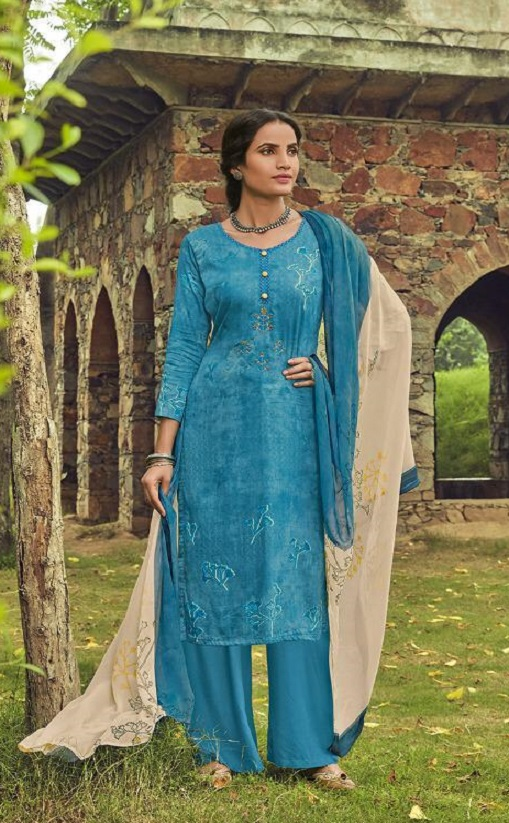 Shahnaz Arts Presents Amora Pure Glace Cotton With Embroidery Work Salwar Suit 9006