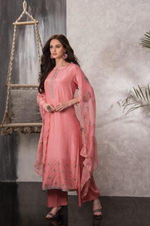 Tacfab Presents Naariti Alyssa Silk Embroidery Unstitched Salwar Suit 2270