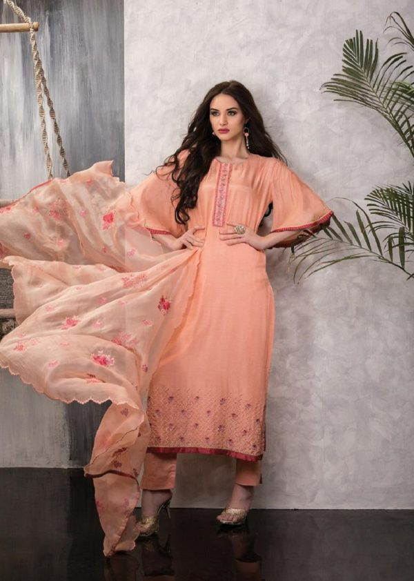 Tacfab Presents Naariti Alyssa Silk Embroidery Unstitched Salwar Suit 2273