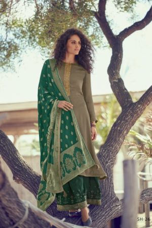 Varsha Fashions Presents Shubham Tussar Silk With Embroidery Salwar Suit SH-26