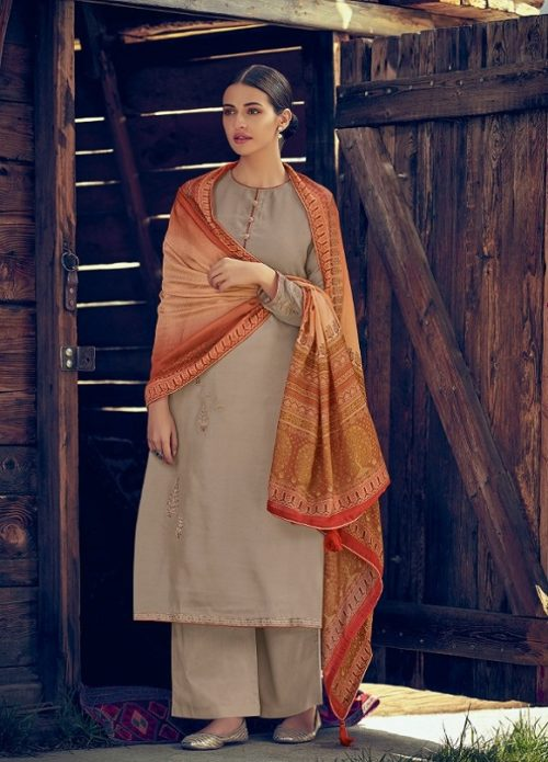 Varsha Fashions Presents Tree Of Life 2 Tussar Silk With Detaild Cording Embroidery Salwar Suit TL-104