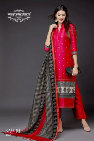 Vastrangna Presents Sawri Collection Maheshwari Print Designer Casual Suit 4008