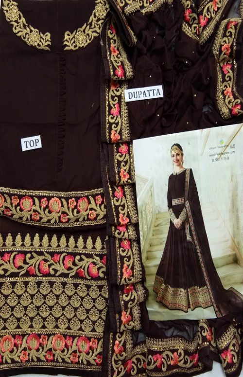 Vinay Fashion Presents Rajmahal Georgette With Beautiful Embroidery Work Anarkali Suit 7173-B