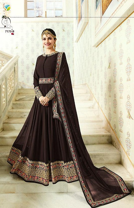 Vinay Fashions Presents Rajmahal Georgette With Beautiful Embroidery Work Anarkali Suit 7173-B