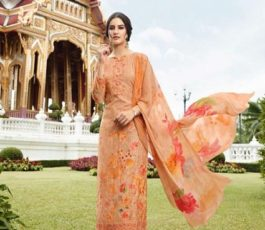 Vivek Fashions Presents Jaanisa Pure Maslin Silk Digital Print With Cross Stitch Embroidery Work Suit 9504