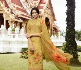 Vivek Fashions Presents Jaanisa Pure Maslin Silk Digital Print With Cross Stitch Embroidery Work Suit 9502