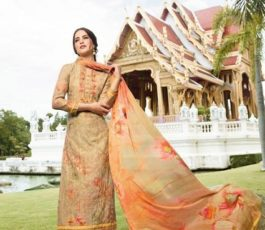 Vivek Fashions Presents Jaanisa Pure Maslin Silk Digital Print With Cross Stitch Embroidery Work Suit 9506
