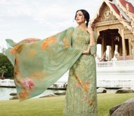 Vivek Fashions Presents Jaanisa Pure Maslin Silk Digital Print With Cross Stitch Embroidery Work Suit 9507