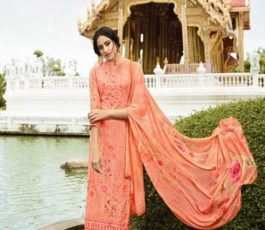 Vivek Fashions Presents Jaanisa Pure Maslin Silk Digital Print With Cross Stitch Embroidery Work Suit 9508