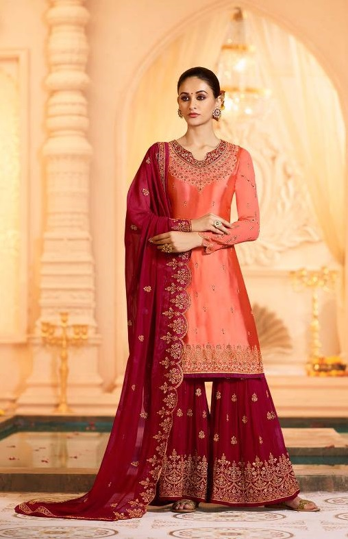 Zubeda Presents Sugandha Satin Georgette With Embroidery Work Designer Sharara Suit 16801