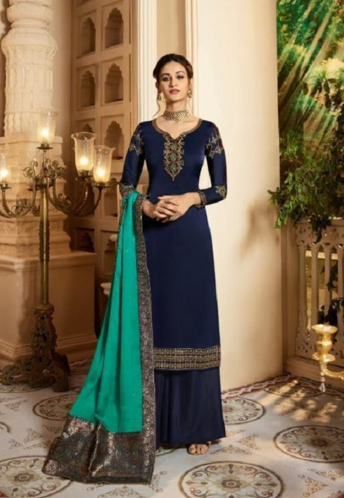 Zubeda Presents Suvarna Georgette Satin With Heavy Work Party Wear Suit 16603