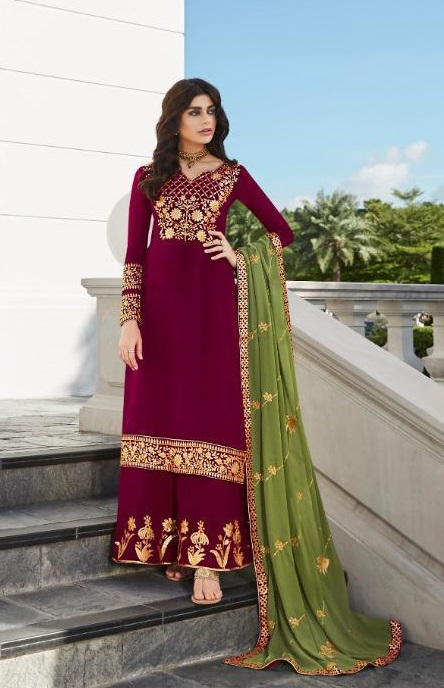 Aashirwad Presents Mor Bagh Gota Pati Real Georgette With Embroidery Work Partywear Suit 7025