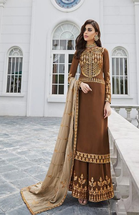 Aashirwad Presents Mor Bagh Gota Pati Real Georgette With Embroidery Work Partywear Suit 7027