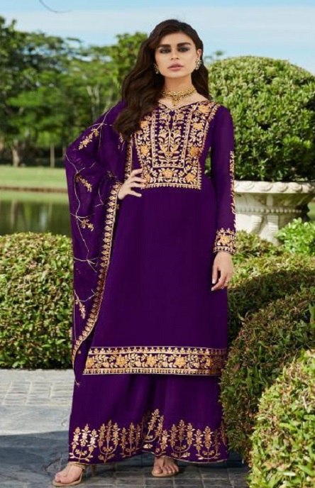Aashirwad Presents Mor Bagh Gota Pati Real Georgette With Embroidery Work Partywear Suits 7028