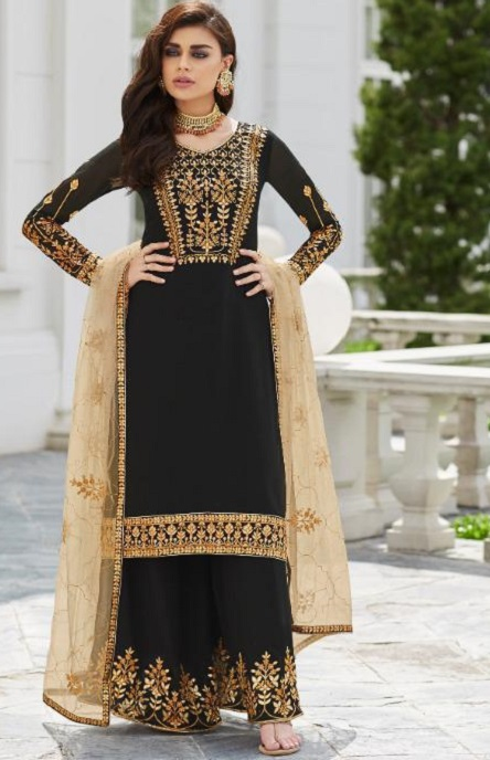 Aashirwad Presents Mor Bagh Gota Pati Real Georgette With Embroidery Work Partywear Suits 7030