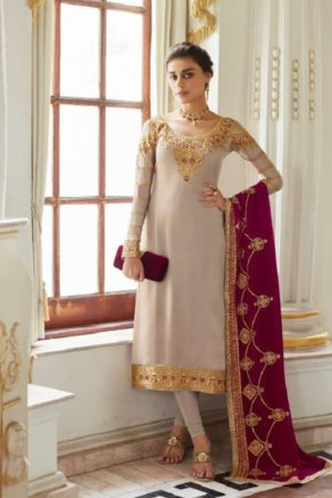 Aashirwad Presents Mor Bagh Sadaf Real Satin Georgette With Embroidery And Work Partywear Churidar Suit 7014
