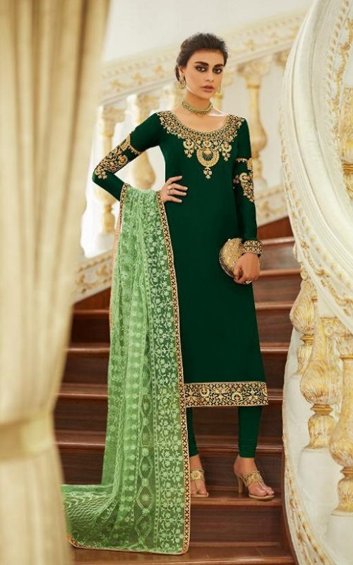 Aashirwad Presents Mor Bagh Sadaf Real Satin Georgette With Embroidery And Work Partywear Churidar Suit 7015