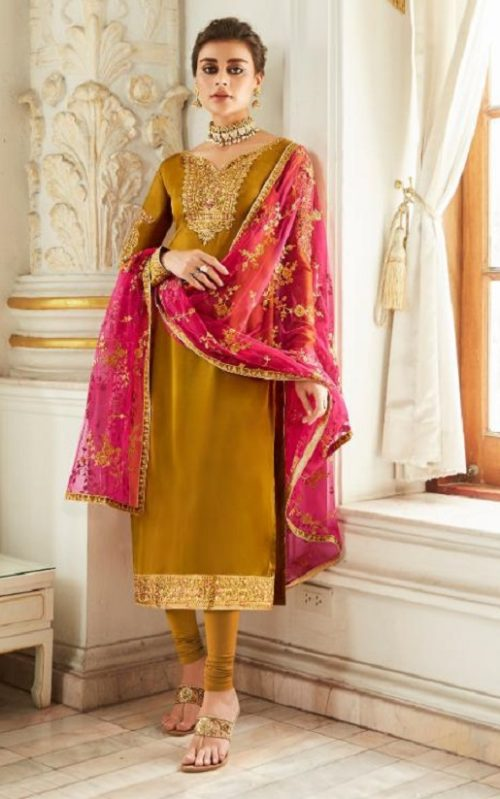 Aashirwad Presents Mor Bagh Sadaf Real Satin Georgette With Embroidery And Work Partywear Churidar Suit 7016