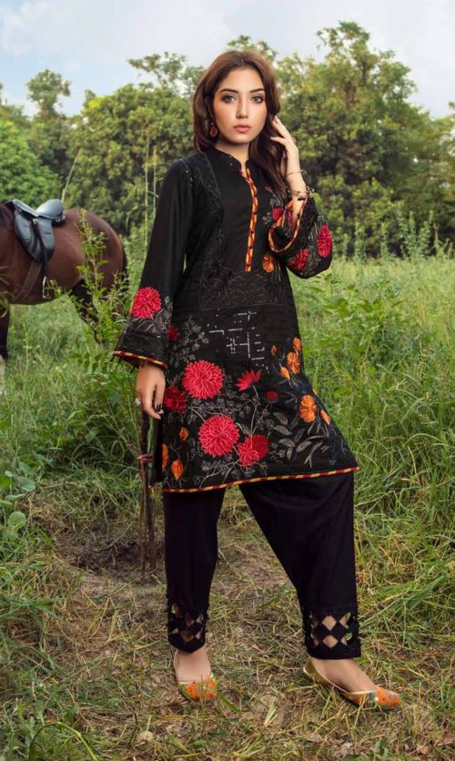 Adan Libas Muzayyan Full Embroidered Jacquard Lawn Black Kurti Collection 01