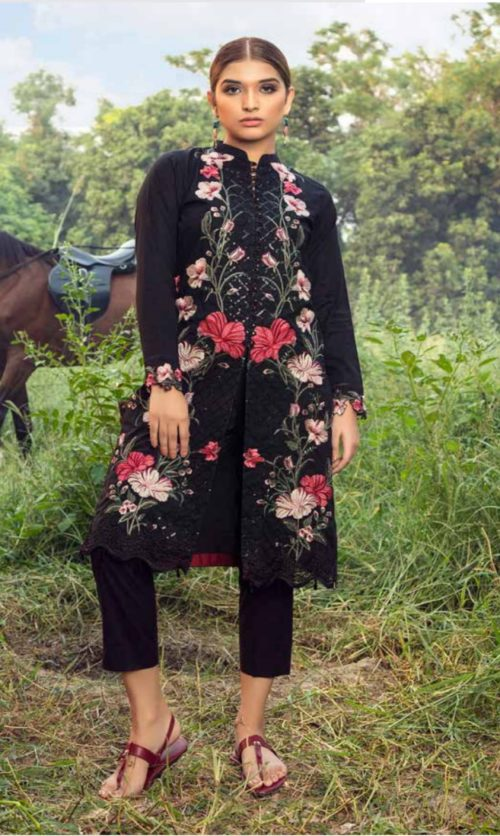 Adan Libas Muzayyan Full Embroidered Jacquard Lawn Black Kurti Collection 02