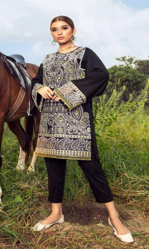 Adan Libas Muzayyan Full Embroidered Jacquard Lawn Black Kurti Collection 03
