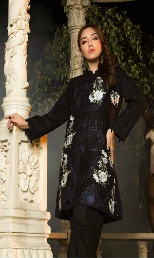 Adan Libas Muzayyan Full Embroidered Jacquard Lawn Black Kurti Collection 07