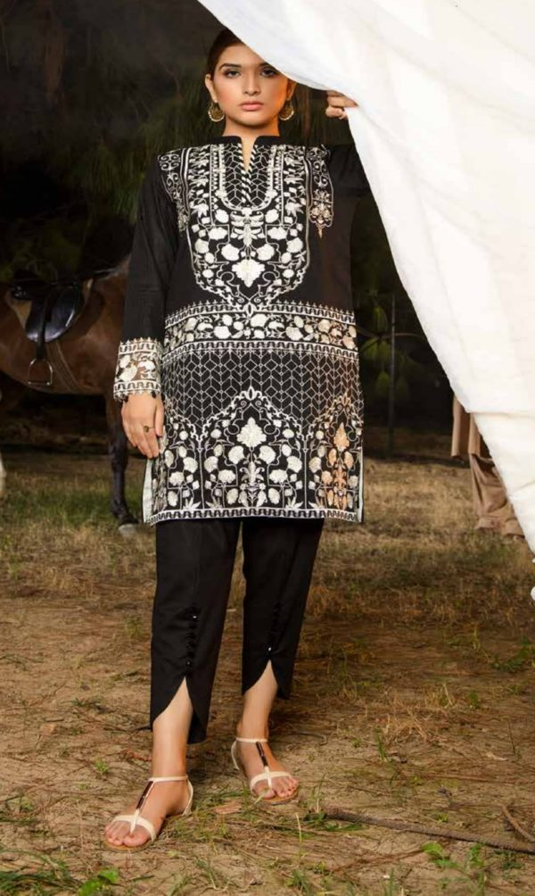 Adan Libas Muzayyan Full Embroidered Jacquard Lawn Black Kurti Collection 09