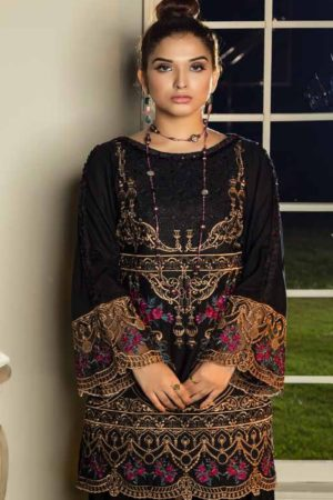 Adan Libas Muzayyan Full Embroidered Jacquard Lawn Black Kurti Collection 11