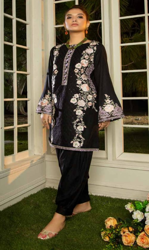 Adan Libas Muzayyan Full Embroidered Jacquard Lawn Black Kurti Collection 12