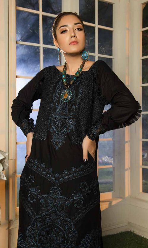 Adan Libas Muzayyan Full Embroidered Jacquard Lawn Black Kurti Collection 13